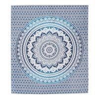 Přehoz Lotus Mandala modrý 220 x 210 cm