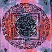 Indický přehoz na postel Om fialový 210 x 140 cm