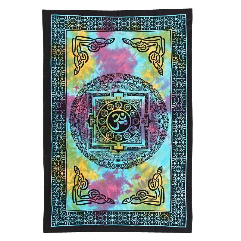 Indický přehoz na postel Om modro-fialový 210 x 140 cm