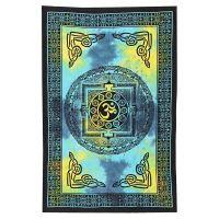 Indický přehoz na postel Om modrý 210 x 140 cm