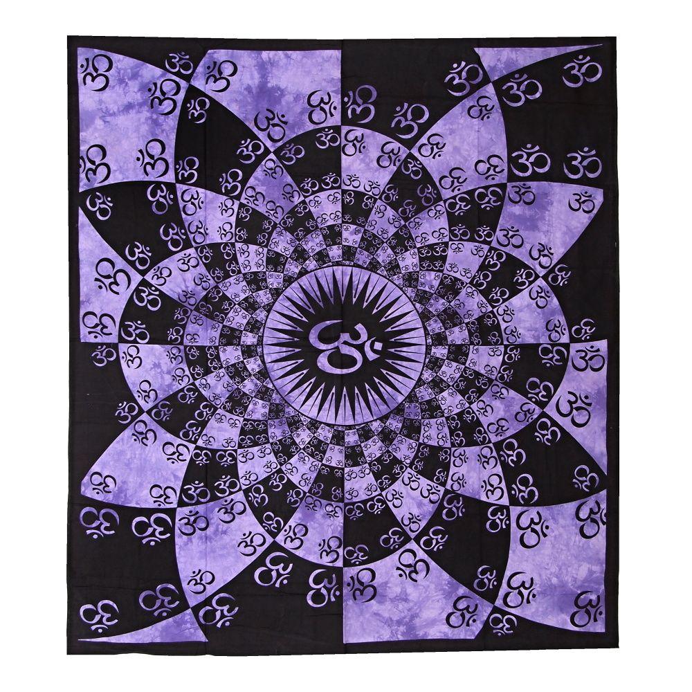 Indický přehoz na postel Om Shine fialový 220 x 210 cm