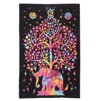 Indický přehoz na postel Slon a strom pestrobarevný 210 x 140 cm