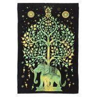 Indický přehoz na postel Slon a strom zelený 210 x 140 cm