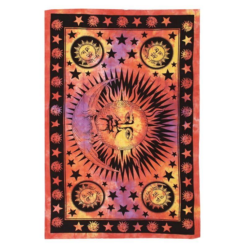 Indický přehoz na postel Slunce červeno-žlutý 210 x 140 cm