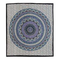 Přehoz Star Mandala modrý 220 x 210 cm