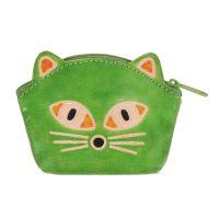 Kožená peněženka na drobné Kočička limetková 10 x 8 cm
