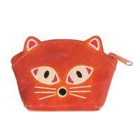 Kožená peněženka na drobné Kočička oranžová 10 x 8 cm