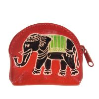 Kožená peněženka na drobné Slon červená 9 x 7 cm