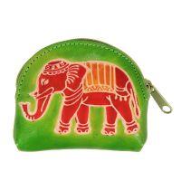 Kožená peněženka na drobné Slon limetková 9 x 7 cm