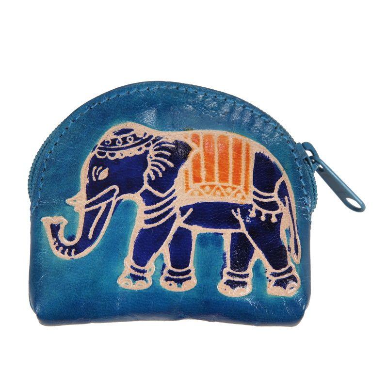 Kožená peněženka na drobné Slon modrá 9 x 7 cm