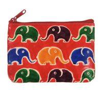 Kožená peněženka na drobné Sloni červená 12 x 8 cm