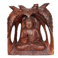 Soška Buddha dřevo 31 cm strom