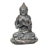 Soška Buddha resin 9 cm šedý II