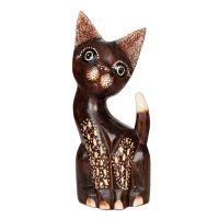 Soška Kočka dřevo 30 cm puntíková