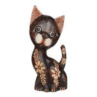 Soška Kočka dřevo 35 cm květinová