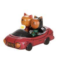 Soška Kočky v autě 10 cm červené