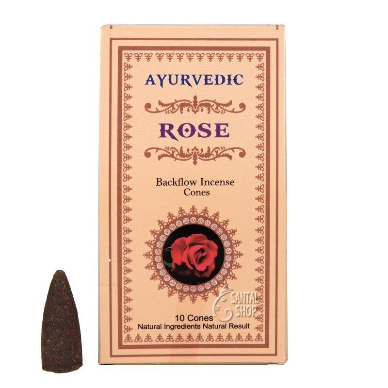 Ayurvedic Rose indické vonné františky tekoucí dým 10 ks