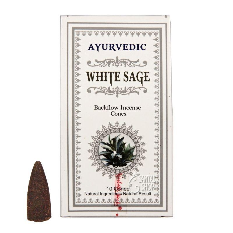 Ayurvedic White Sage indické vonné františky tekoucí dým 10 ks