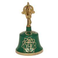 Dilbu rituální tibetský zvonek 13 cm Čakra zelený