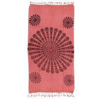 Přehoz Owl mandala růžový 175 x 95 cm