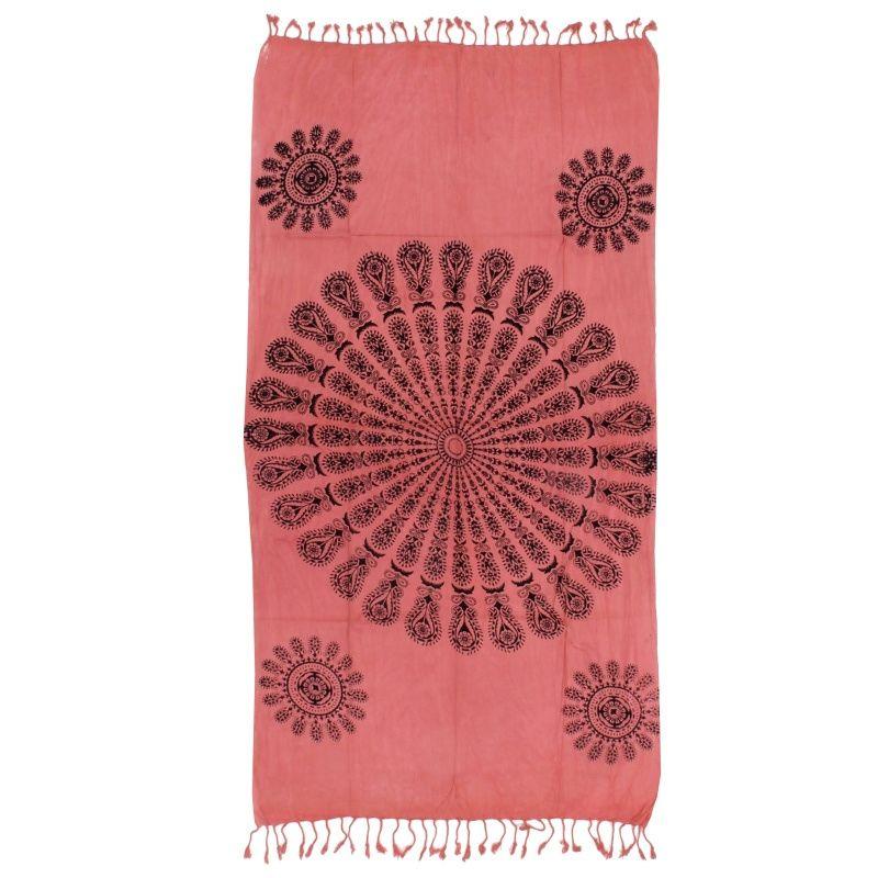 Indický přehoz na křeslo Owl mandala růžový 175 x 95 cm