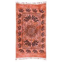 Indický přehoz na křeslo Sloni oranžový 175 x 95 cm
