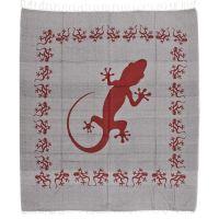 Přehoz Gekon šedý 235 x 210 cm červený