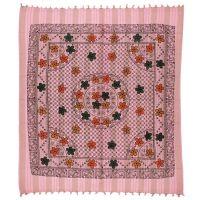 Přehoz Květy růžový 235 x 210 cm