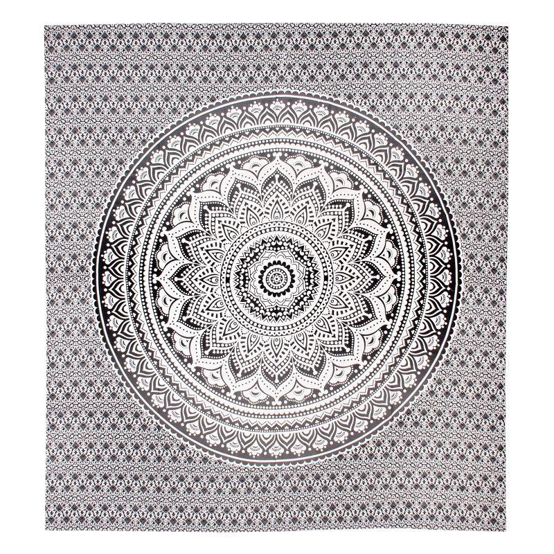 Indický přehoz na postel Lotus Mandala černý 220 x 210 cm
