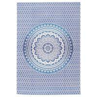 Přehoz Lotus Mandala modrý 205 x 140 cm