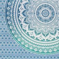 Indický přehoz na postel Lotus Mandala zelený 205 x 140 cm