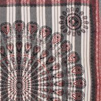 Indický přehoz na postel Owl Mandala černo-bílý 235 x 210 cm