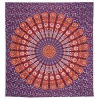 Přehoz Owl Mandala červeno-fialový 220 x 210 cm