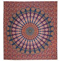 Přehoz Owl Mandala modro-červený 220 x 210 cm