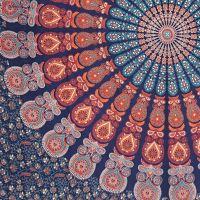 Indický přehoz na postel Owl Mandala modro-oranžový 220 x 210 cm