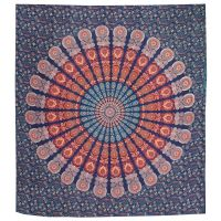 Přehoz Owl Mandala modro-oranžový 220 x 210 cm