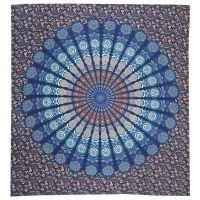 Přehoz Owl Mandala modro-tyrkysový 220 x 210 cm