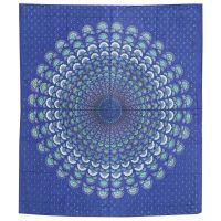Přehoz Owl Mandala nebeská modrá 220 x 210 cm