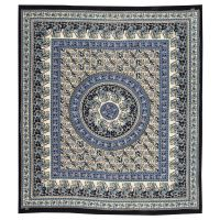 Přehoz Paisley Mandala modrý 220 x 210 cm