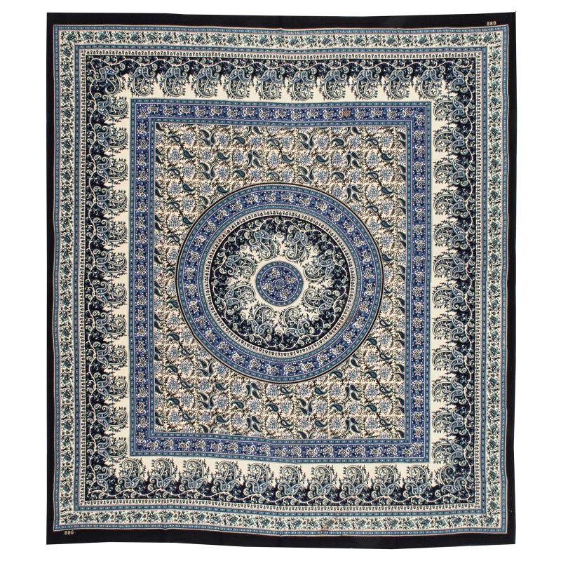 Indický přehoz na postel Paisley Mandala modrý 220 x 210 cm