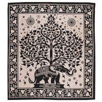 Přehoz Slon a strom černý 235 x 210 cm