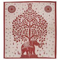 Přehoz Slon a strom červený 235 x 210 cm