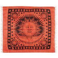 Přehoz Slunce a Měsíc červený 235 x 210 cm