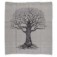 Přehoz Strom života černo-šedý 235 x 210 cm