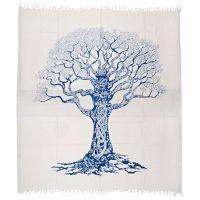 Přehoz Strom života modro-bílý 235 x 210 cm