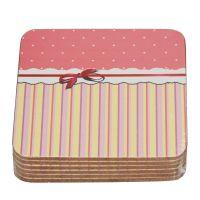 Korkové prostírání Romance růžové 6 ks 10 x 10 cm