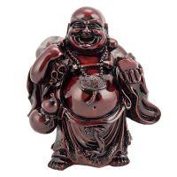Soška Hotei smějící se buddha resin 16 cm červený