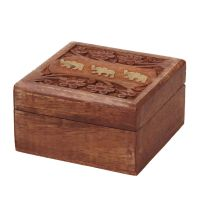 Šperkovnice dřevěná 10 x 10 cm sloni