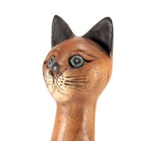 Soška Kočka dřevo kuželka 26 cm Thajsko