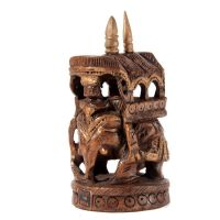 Soška Slon dřevo 10 cm s baldachýnem